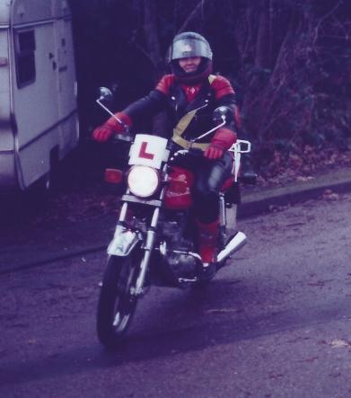 Lynda riding Suzuki GSX250